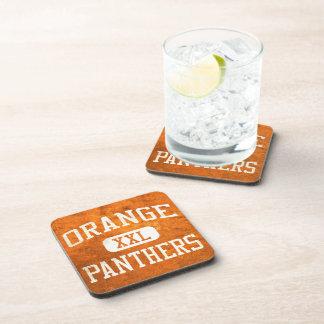 Atletismo anaranjado de las panteras posavasos de bebidas