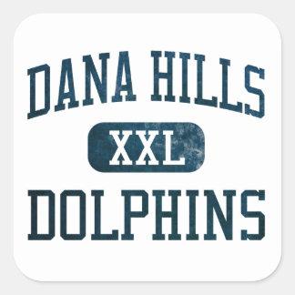 Atletismo de los delfínes de las colinas de Dana Colcomanias Cuadradas Personalizadas