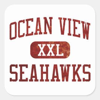 Atletismo de Seahawks de la vista al mar Pegatina Cuadrada