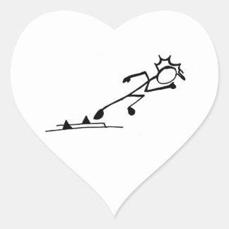 Atletismo de Stickman del esprinter Calcomanía Corazón