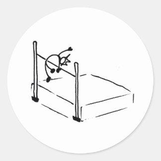 Atletismo de StickMan del salto de altura Pegatina Redonda