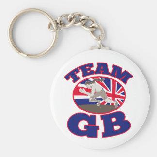 atletismo del corredor del GB Gran Bretaña del equ Llavero Redondo Tipo Pin