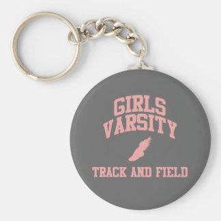 Atletismo del equipo universitario de los chicas llavero redondo tipo pin