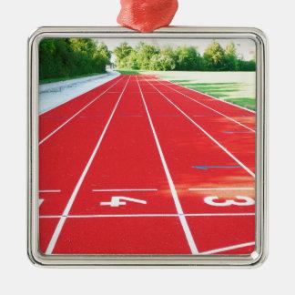 Atletismo - impresión del corredor adorno navideño cuadrado de metal