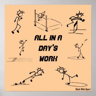 """Atletismo """"todo de Stickman en el trabajo de un dí Póster"""