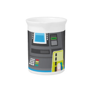 ATM human hand with a card Beverage Pitcher