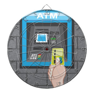 ATM human hand with a card Dartboard With Darts