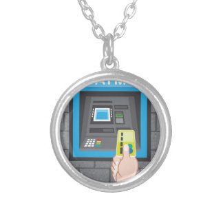 ATM human hand with a card Round Pendant Necklace