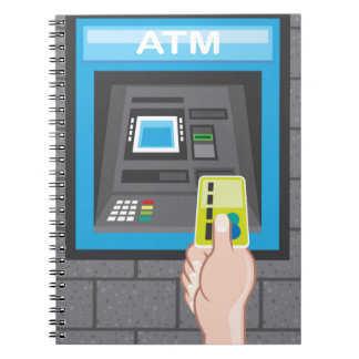 ATM human hand with a card Spiral Notebook