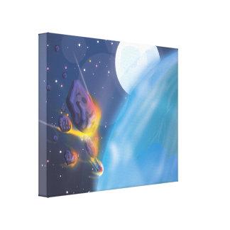 Atmósfera de tierras del meteorito que entra impresión en lienzo