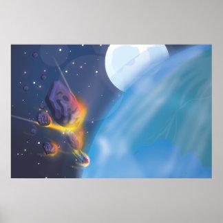 Atmósfera de tierras del meteorito que entra póster