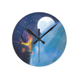 Atmósfera de tierras del meteorito que entra reloj redondo mediano
