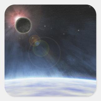 Atmósfera externa de la tierra del planeta pegatina cuadrada