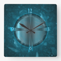 """Atmospheric Blue/Aqua Patterned >Wall Clock"" Square Wall Clock"