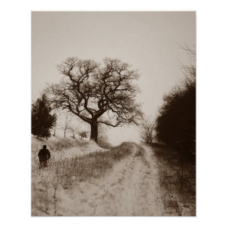 Atmospheric scenic snowy country lane art photo poster