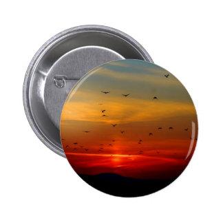 Atmospheric Sky, sunset, birds, beautiful photo Pinback Buttons