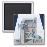 Atmospheric Steam Engine 2 Inch Square Magnet