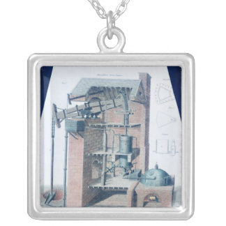 Atmospheric Steam Engine Silver Plated Necklace