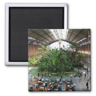 Atocha Railway Station 2 Inch Square Magnet