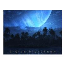 atoll, beach, tropical, avatar, pandora, space, Postcard with custom graphic design