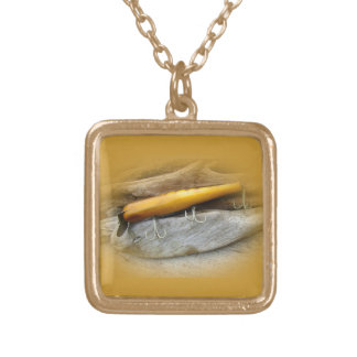 Atom A40 Vintage Fishing Lure Square Pendant Necklace