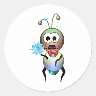 Atom Ant Flower Love Classic Round Sticker