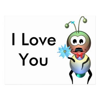 Atom Ant Flower Love Postcard
