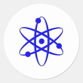 atom blue classic round sticker