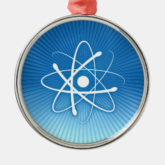 Atom on blue background - Christmas Heart Ornament