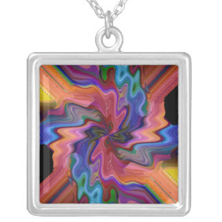 Atom Smashing Square Pendant Necklace