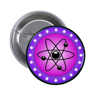 Atom Symbol on a Pink background 2 Inch Round Button