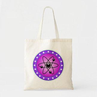Atom Symbol on a Pink background Tote Bag