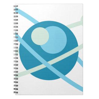 Atom vector logo spiral notebook