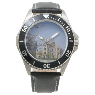 Atomic bomb dome of the Hiroshima city peaceful Wrist Watch