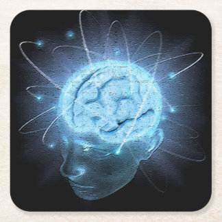 Atomic Brain Square Paper Coaster