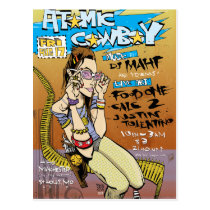 artsprojekt, atomic cowboy postcard, jim, mahfood, food, one, 40oz, comics, clerks, grrl scouts, colt 45, stupid, page, filler, man, live art, live, art, z-trip, murs, felt, true, tales, underground, hip, hop, sarah, silverman, program, frenchpulp, mahf, earthworms, comic, books., jim mahfood, jim mahfood skateboards, food one skateboards, 40 oz comics skateboards, food one, 40 oz comics, Cartão postal com design gráfico personalizado