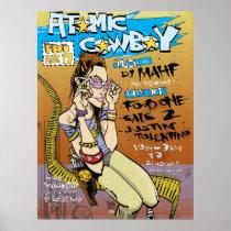 artsprojekt, atomic cowboy print, poster, jim, mahfood, food, one, 40oz, comics, clerks, grrl scouts, colt 45, stupid, page, filler, man, live art, live, art, z-trip, murs, felt, true, tales, underground, hip, hop, sarah, silverman, program, frenchpulp, mahf, earthworms, comic, books., jim mahfood, jim mahfood skateboards, food one skateboards, 40 oz comics skateboards, food one, Cartaz/impressão com design gráfico personalizado