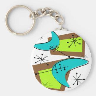 Atomic Era Inspired Boomerang Design Basic Round Button Keychain