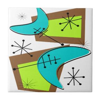 Atomic Era Inspired Boomerang Design Ceramic Tile