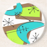 Atomic Era Inspired Boomerang Design Drink Coaster
