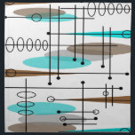 """Atomic Era Mid-Century Modern Abstract Napkin<br><div class=""""desc"""">Atomic Era Mid-Century Modern Abstract design in brown and teal.  Perfect for anyone who appreciates the Atomic and mid-century inspired era.</div>"""