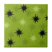 Atomic Green Starbursts Ceramic Tile