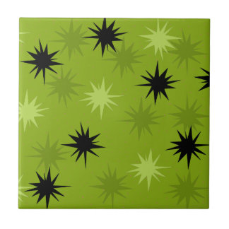 Atomic Green Starbursts Ceramic Tile