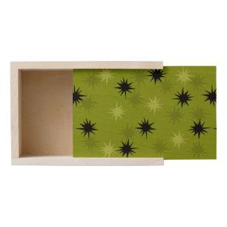 Atomic Green Starbursts Large Wooden Keepsake Box