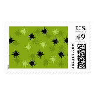 Atomic Green Starbursts Postage Stamps