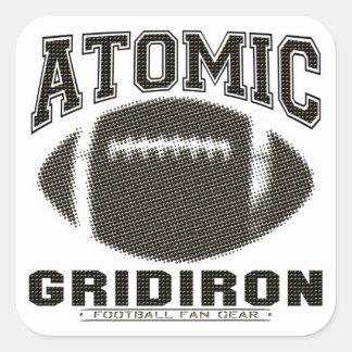 Atomic Gridiron Black Gold Square Stickers