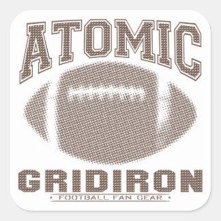 Atomic Gridiron Brown Square Sticker