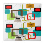 Atomic Inspired Abstract Design Small Square Tile