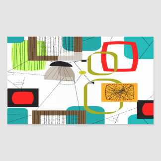 Atomic Inspired Abstract Design Rectangular Sticker