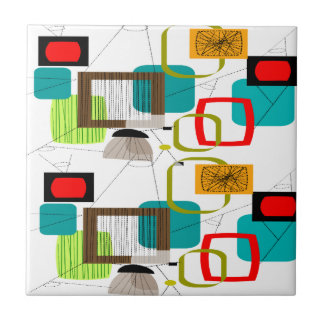 Atomic Inspired Abstract Design Tile